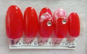 華やか,赤,レッド,ネイル,ピンク,マーブル