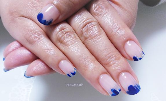 青,メタリックシルバー,変形フレンチ